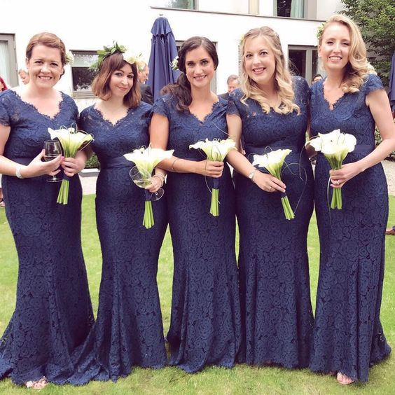 TH&TH Privé Lucy gowns in Navy for Leanne's bridesmaids.