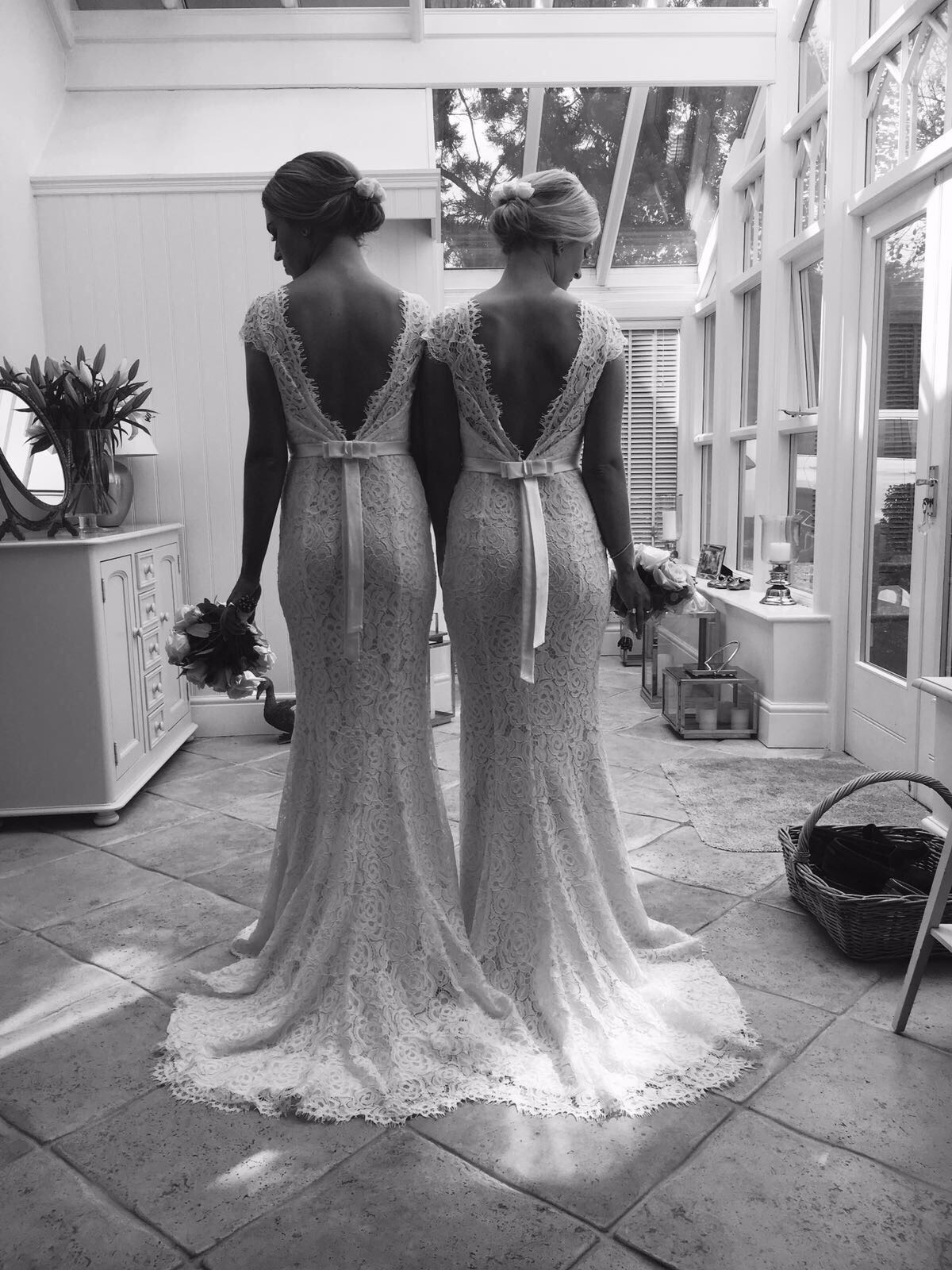 Alara Cap sleeve gowns in Ivory for Alice's two incredible bridesmaids