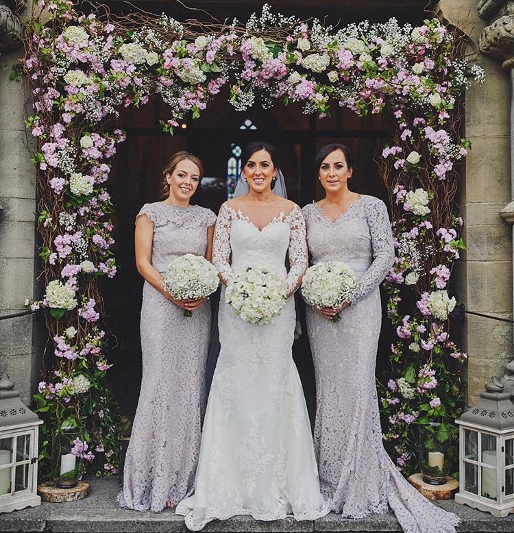 Alara Cap and a bespoke Lucy gown in Silver Mist for Carol's two gorgeous bridesmaids.