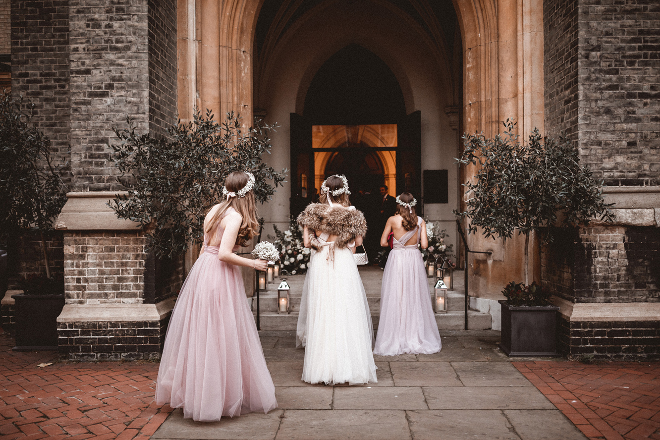 Luna gowns  for Emma's processional. Photo  Benjamin Wheeler