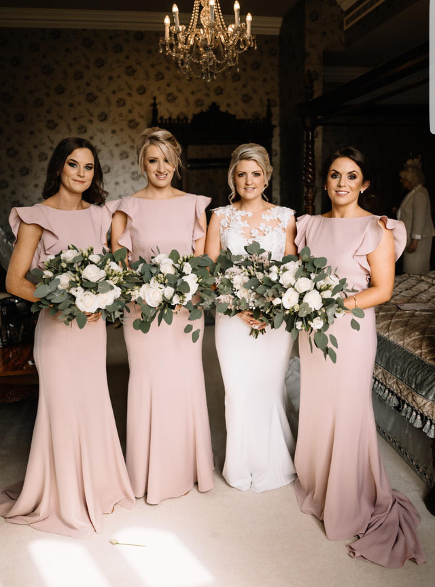 Edel's beautiful bridesmaids wearing  Cecelia in Smoked Blush  -  Photo Art Wedding Photography
