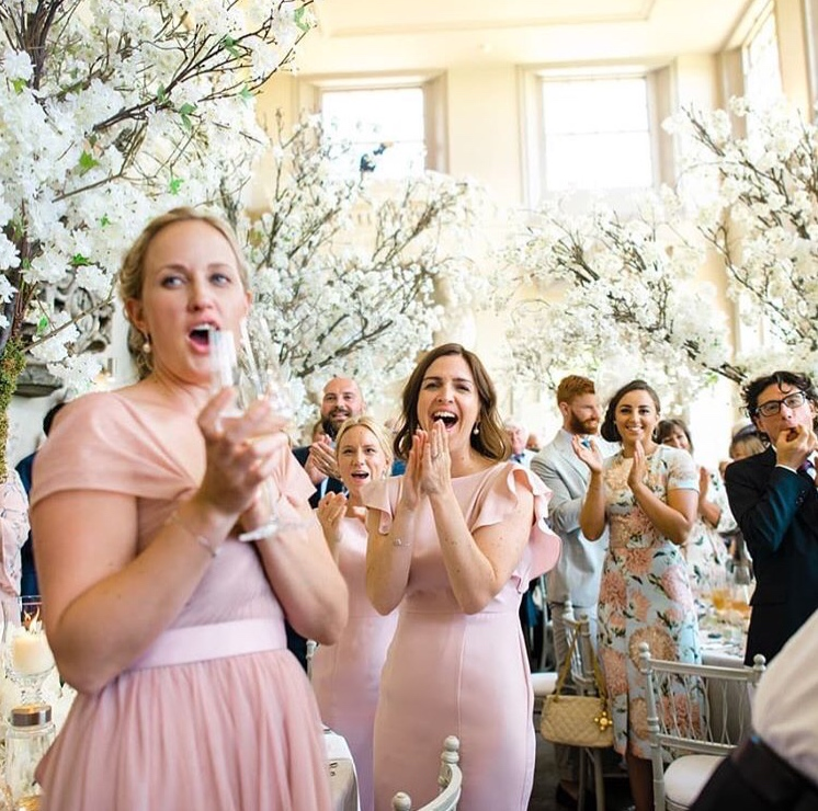 Celebrating at Aynhoe Park in  Bardot  and  Cecelia gowns  - Photo  Stephanie Swann