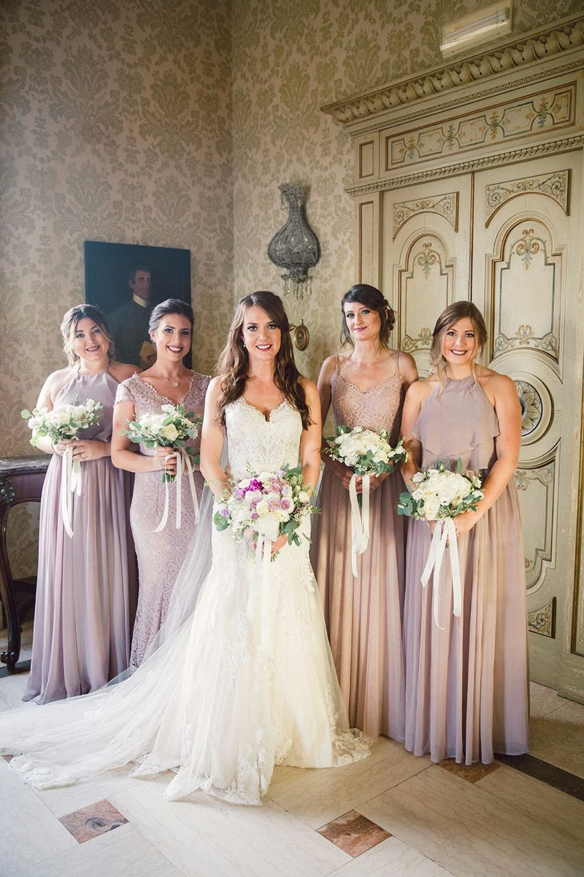 Rachel's stunning bridal party wearing a mix of Olympia gowns and two bespoke creations all in Smoked Orchid - Photo  Yulia Longo