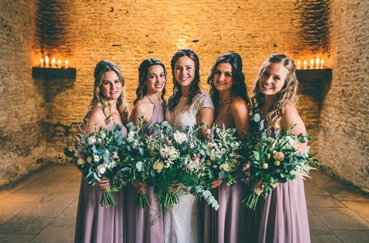 Gorgeous Cat and her bridal party wearing a mix of Edie &  Olympia in Smoked Orchid  - Photo  Rob Tarren