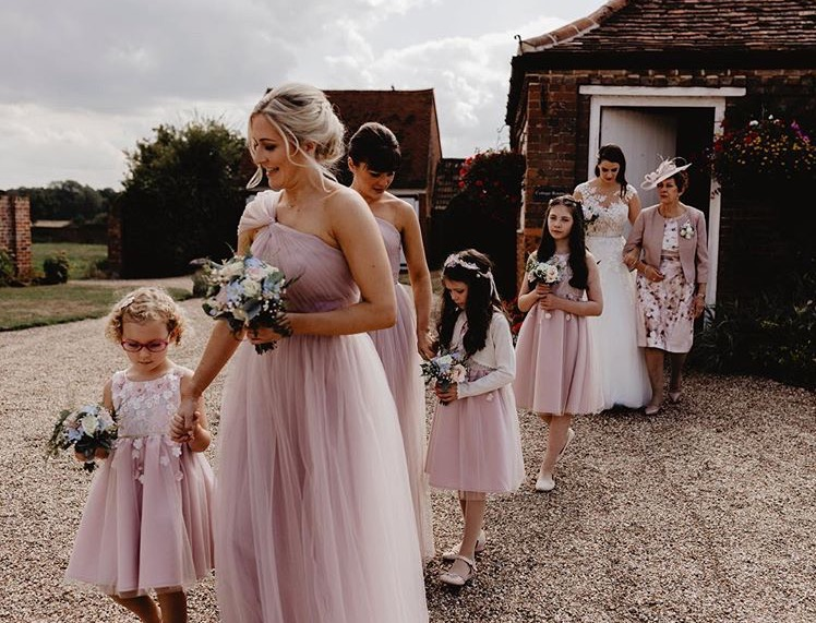 Luna gown in Smoked Orchid  for Amy's beautiful bridesmaids - Photo  Benjamin Stuart Photography