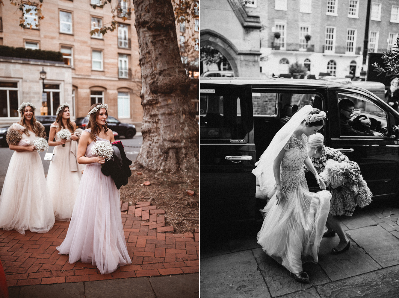 Breath taking bride Emma followed by her bridesmaids wearing our  Luna gown . - Photo  Benjamin Wheeler