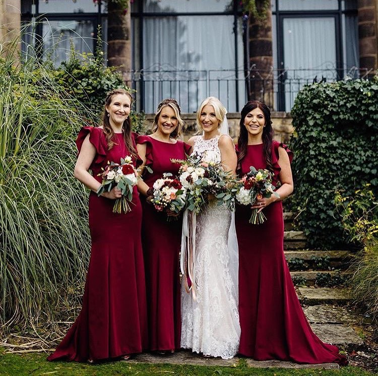 Beautiful bride Katie with her best girls wearing  Cecelia in Roseberry  - Photo  Maytree Photo