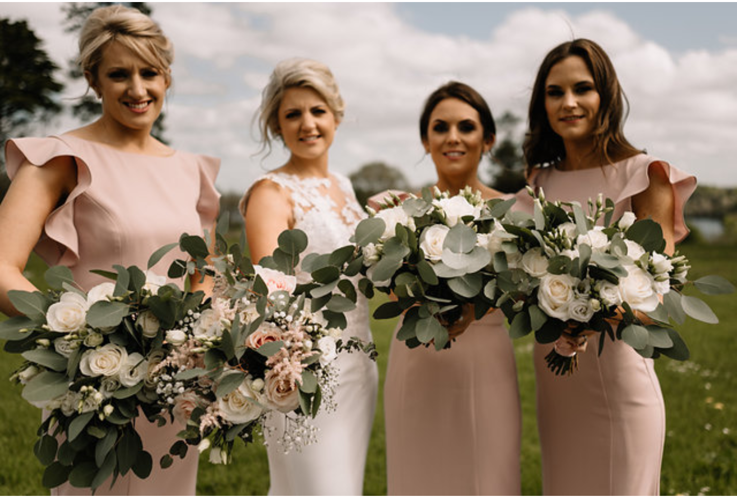 Edel and her best girls wearing  Cecelia in Smoked Blush  - Photo  Art Wedding Photography