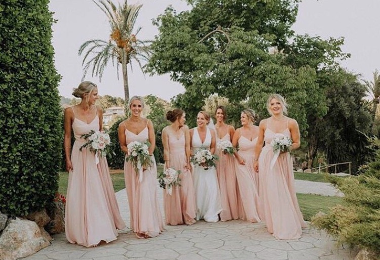 Emily's beautiful bridal party wearing Edie in Blush