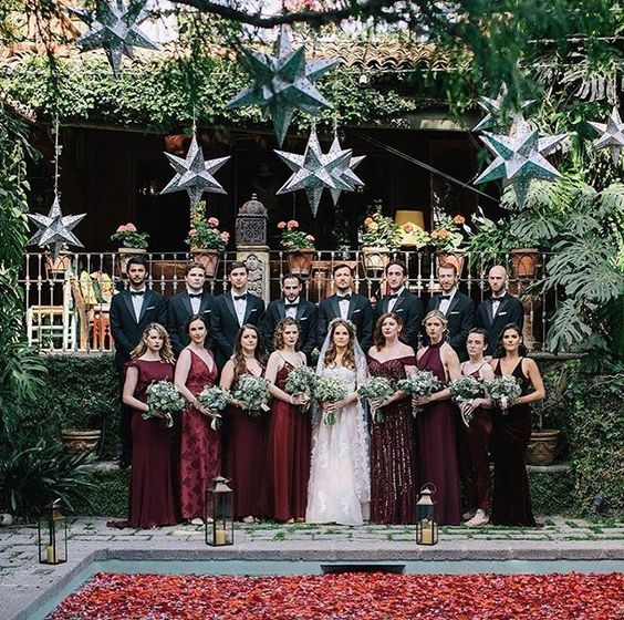 Stunning Alessandra and her Burgundy bridal party. Bridesmaid Hannah (far left) wears  Cecelia in Roseberry.