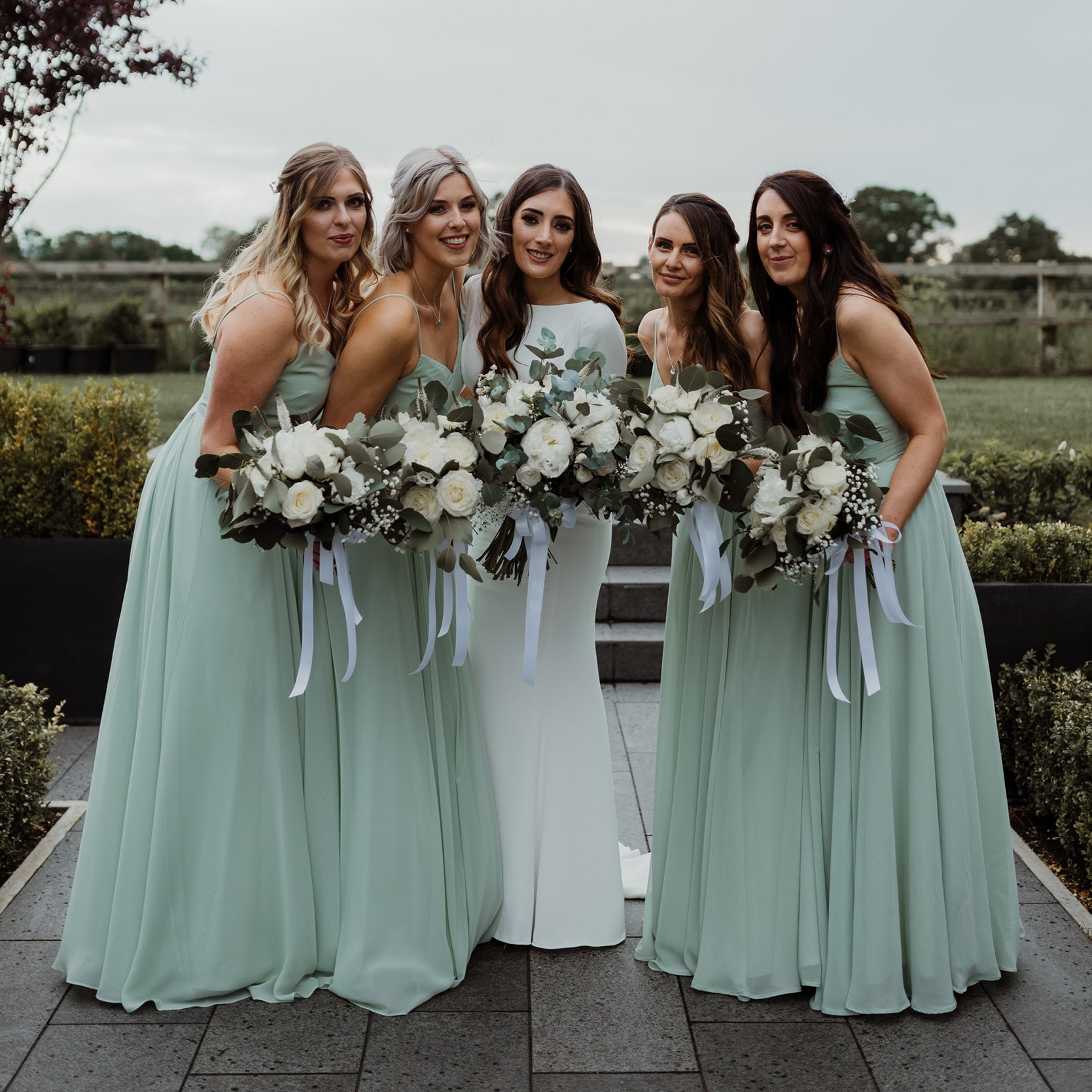 Shani and her best girls wearing Edie in Pistachio - Photo Petal & Blush Artistry