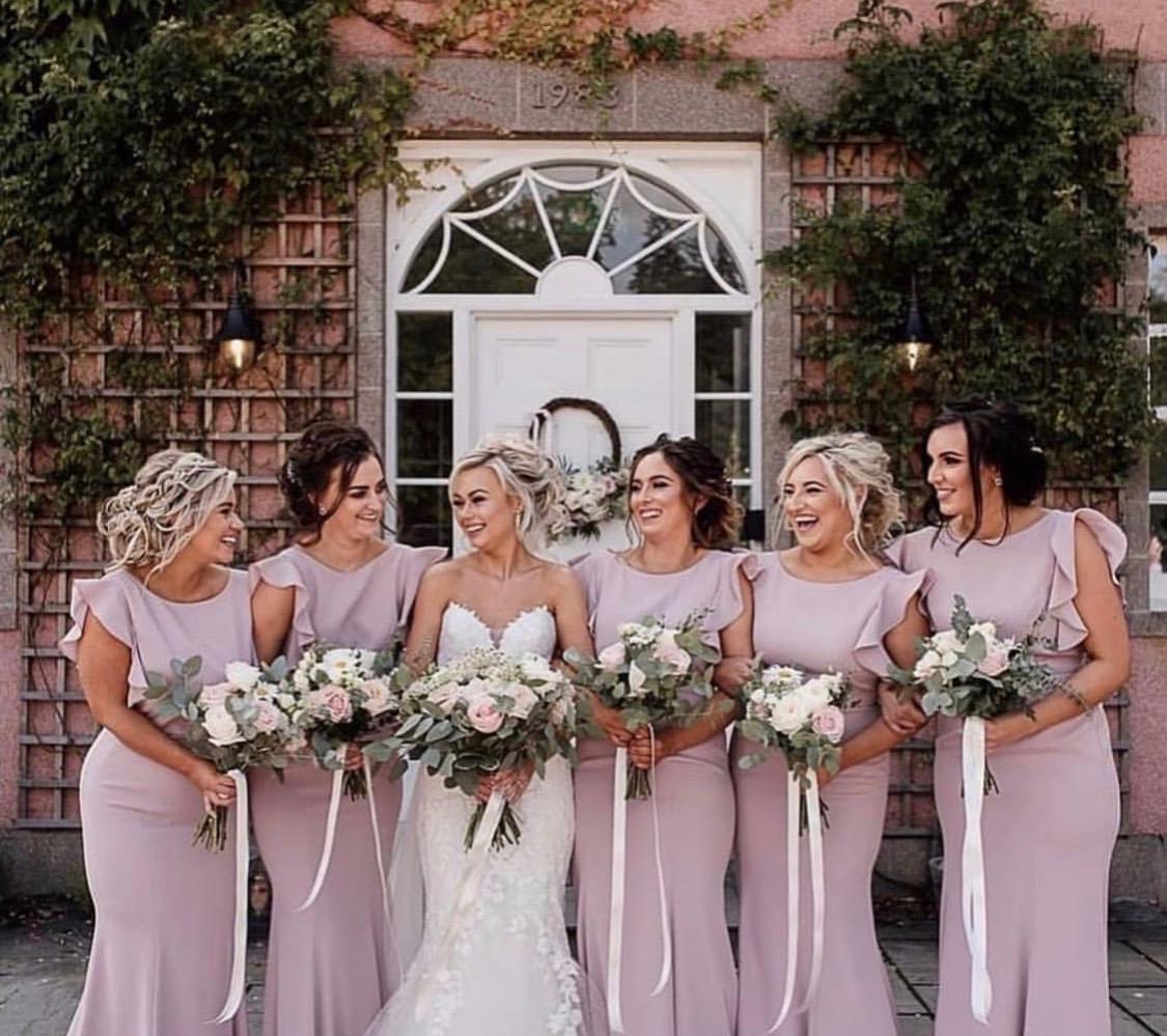 Breathtaking bride Charlotte and her  Cecelia Smoked Blush  Bridesmaids - Photo  Nicola Stewart