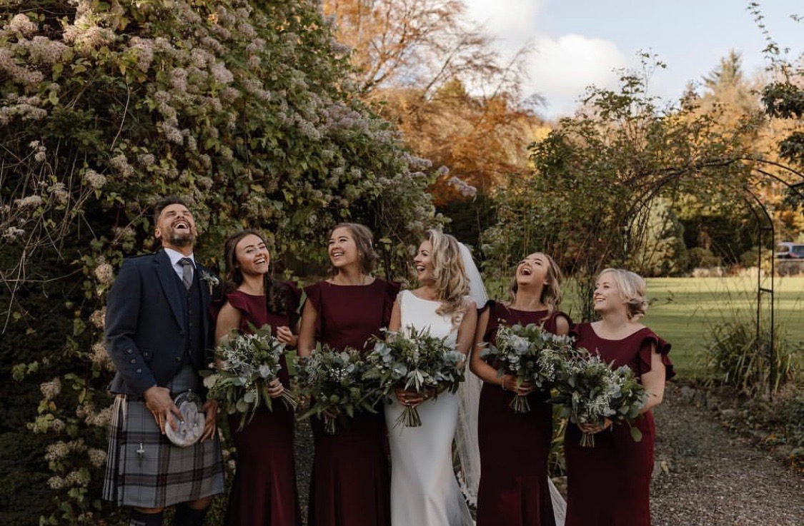 Gorgeous Lynsey and her bridemaids wearing  Cecelia in Roseberry  - Photo L Mackay Photography