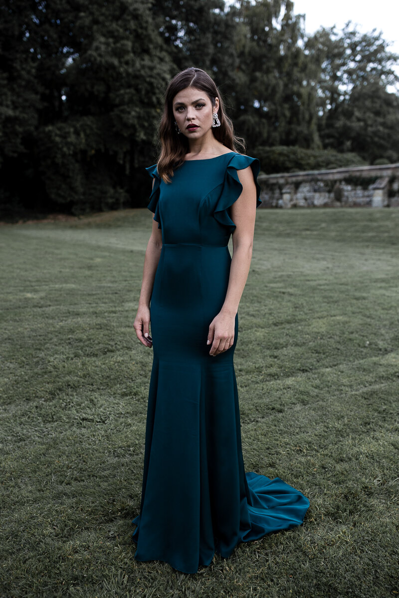 Cecelia Crepe Luxe gown in Emerald