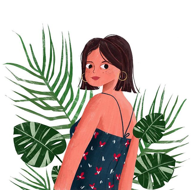 Tropical vibes today 🌿 . . #illustration #surfacedesign #tropicalgirl #sessun #palmtrees #monstera #botanical #characterdesign #patterns #procreate #painting #jungle #lauramuls