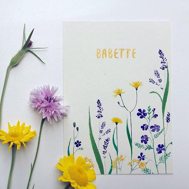 Happy 2nd birthday Babette! 🤘🏼 . . . #babygirl #wildflowers #geboortekaartje  #birthcard #baby #flowers #handmade #summerflowers #birthannouncement #watercolor #graphicdesign #verjaardag#geboortekaartje #geboorte #wildebloemen #antwerpen  #lauramuls