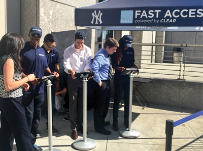 """Photo from report by Sports Business Daily, """" Biometric technology speeding entry at ballpark gates ,"""" 11/16/15."""