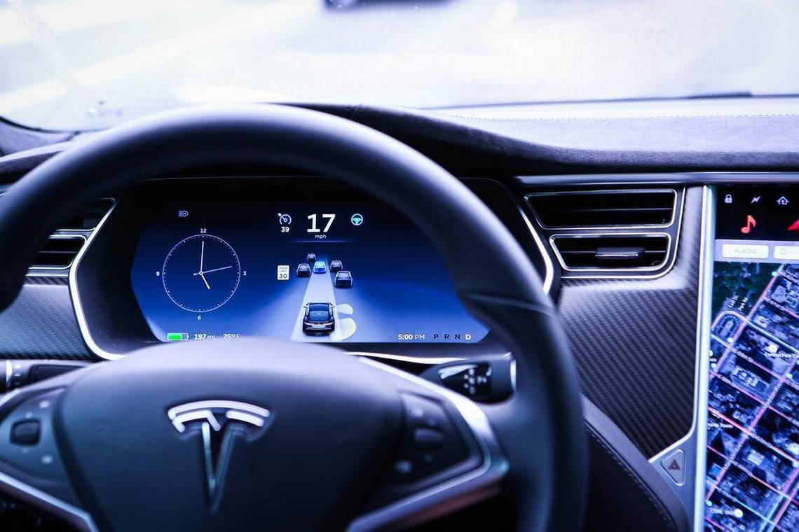 An instrument panel in a Tesla Model S P90D vehicle. Photo Credit: Christopher Goodney, Bloomberg, as reported by  Miami Herald , 4/28/17.