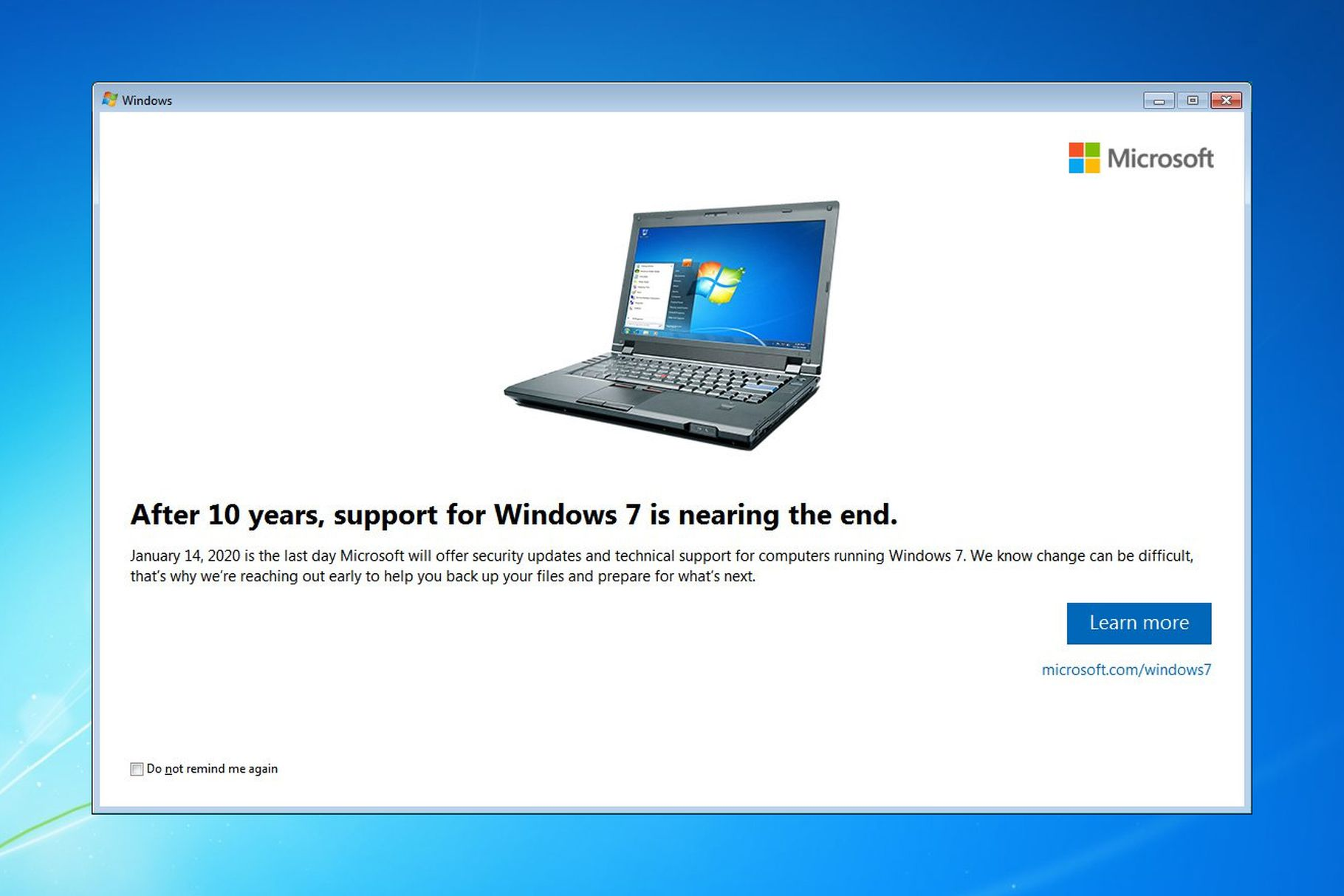 Image of Microsoft notification about end of Windows 7 support as reported by  The Verge .