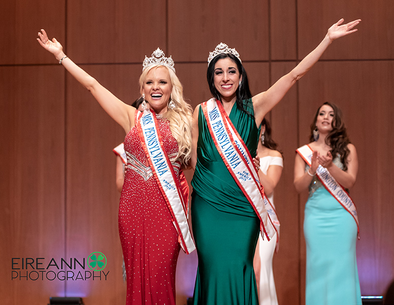 Rebecca West Hensinger and Mindy Jo Miller share their joy as top winners at the combined Miss PA for America and Mrs. PA America 2019 pageant.