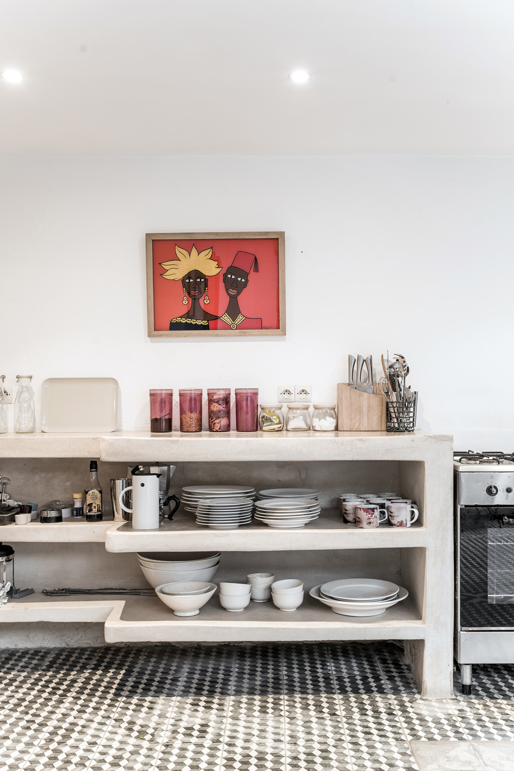 kitchen with bowls and painting