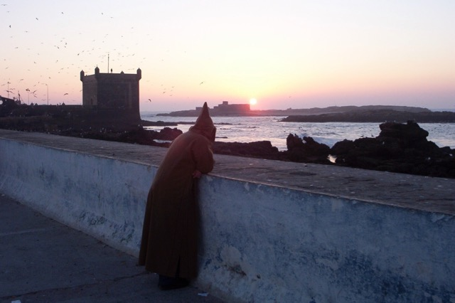 Sunset view over the medina wall to the sea game of thrones