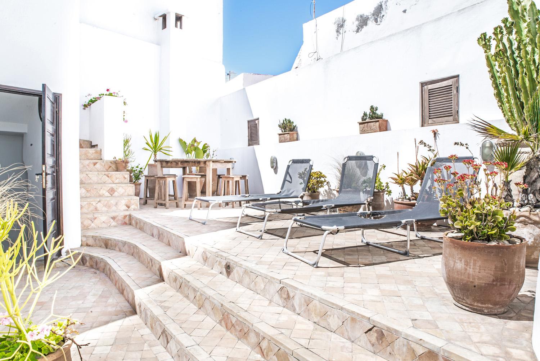 moroccan patio terrace suntrap showing sunbeds