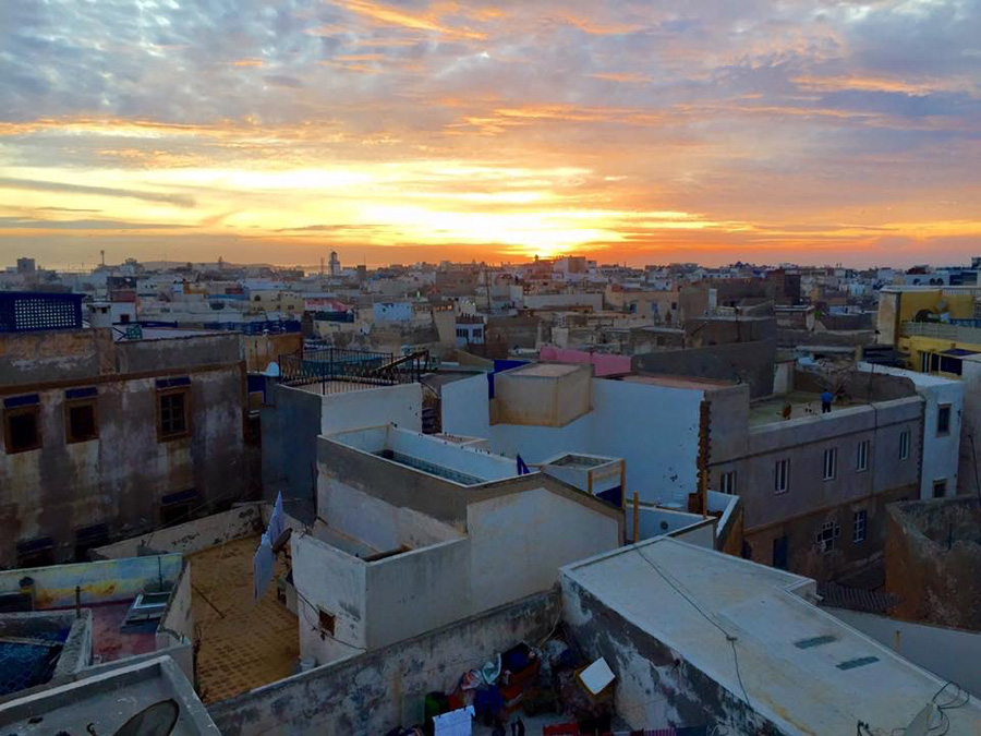 View over the Medina at sunset in Essaouira
