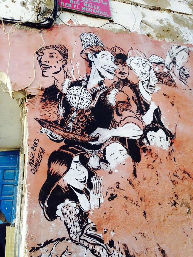 Moroccan street art in Essaouira medina