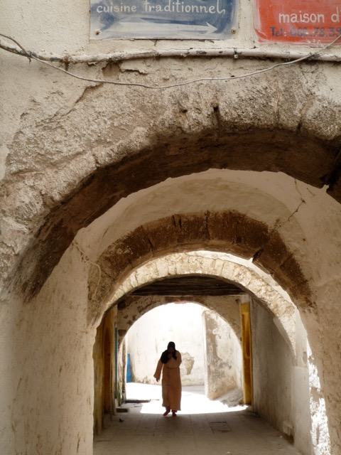 Man walks through empty medina at Essaouira - game of thrones