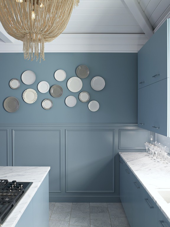 Simple shapes in white and metallic finishes add just enough interest to the space.