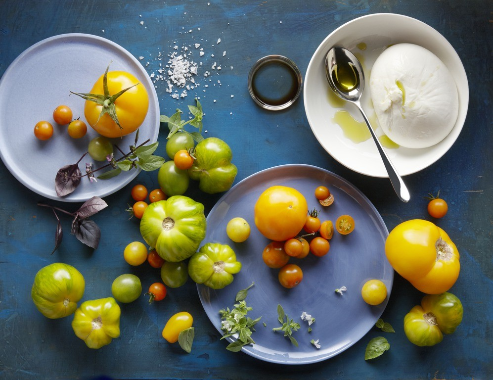 The ingredients for a fabulously fresh caprese salad are stunningly beautiful in their own right.