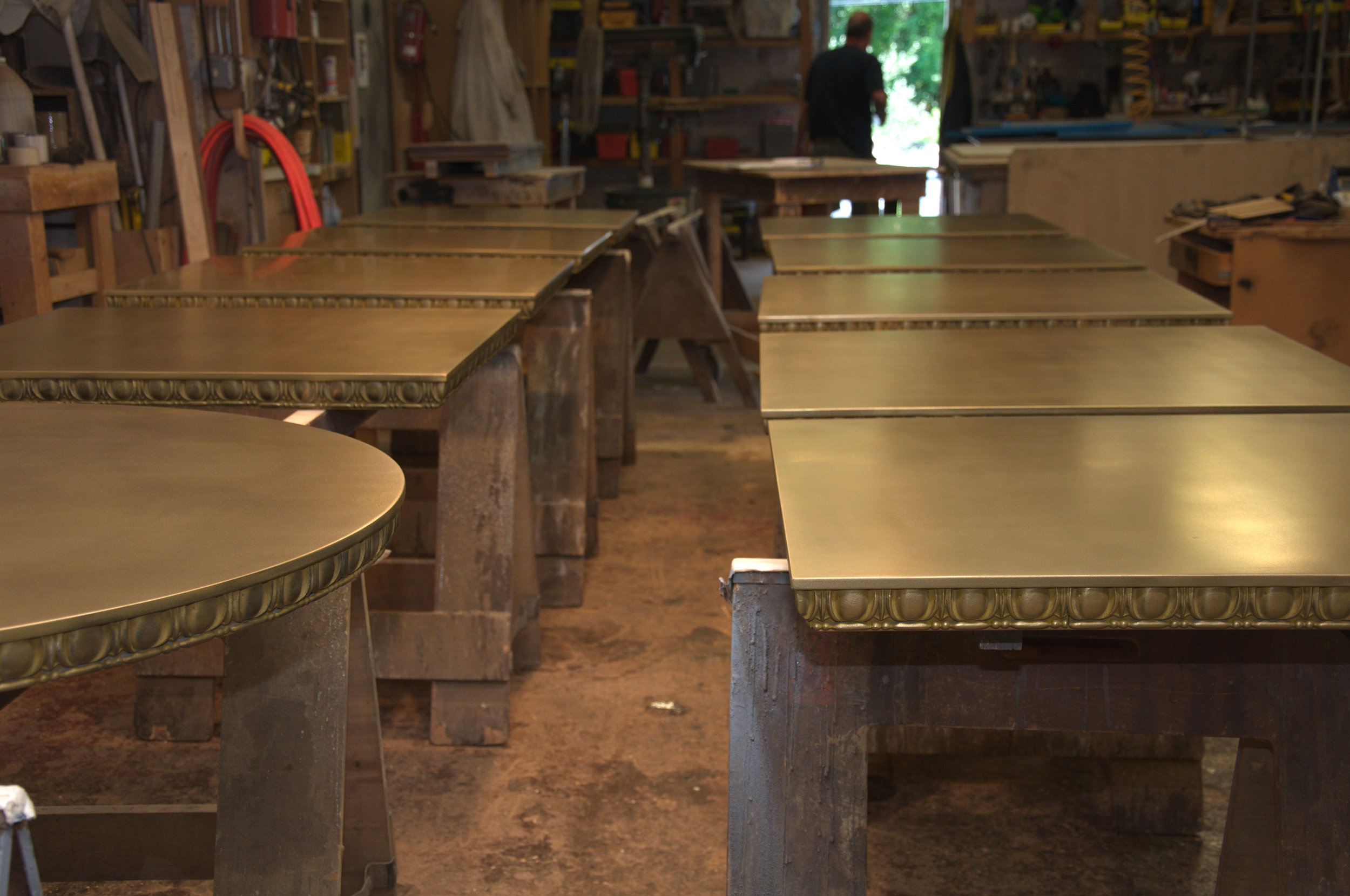 Brass Cafe Tables with Egg & Dart Edge