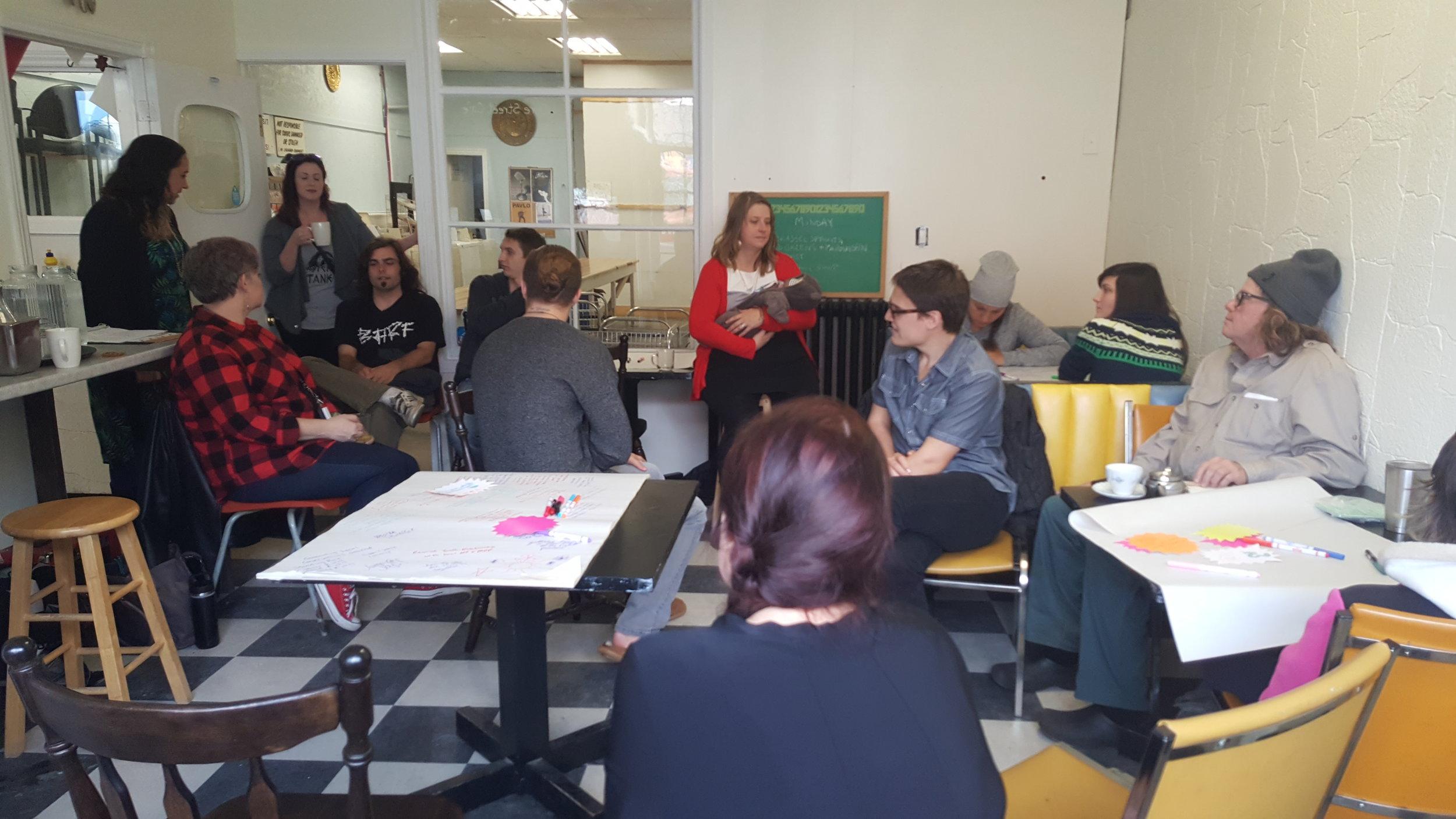 Séance de laboratoire d ' idées à Sault Ste. Marie; une entreprise sociale Gore Street Café