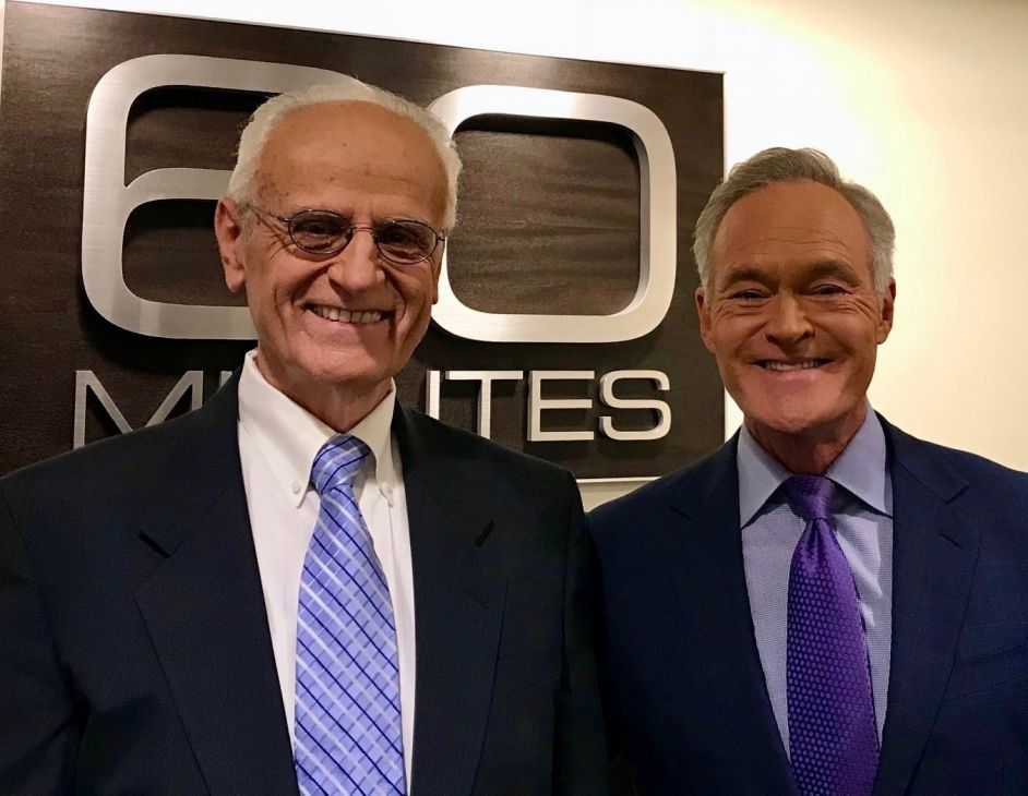 Dr. Duane Priddy (left), CEO and founder of Plastic Expert Group, interviewed by 60 Minutes correspondent Scott Pelley (right)