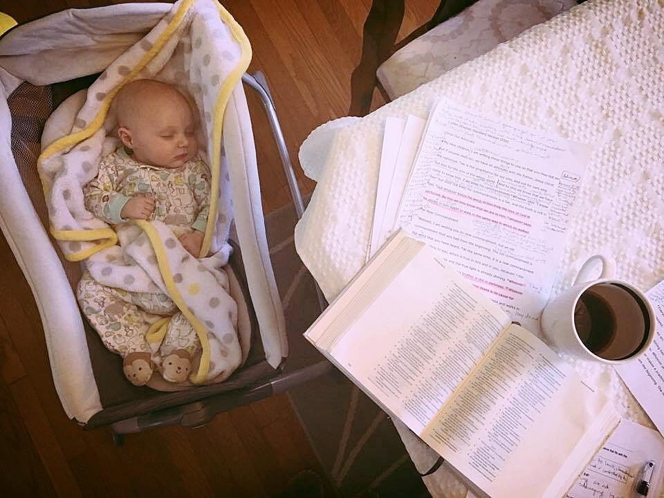Jillian's study buddy and Valentine, baby Matthias.