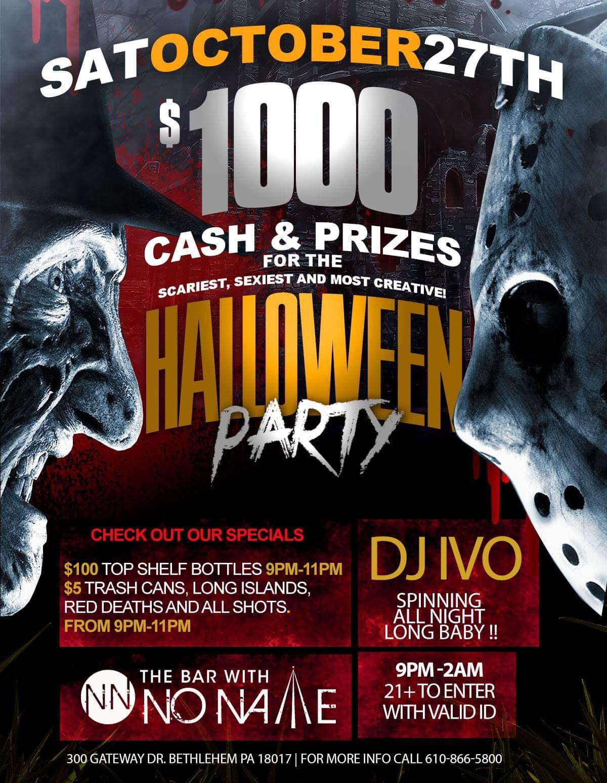 Saturday Halloween Party with costume competititon