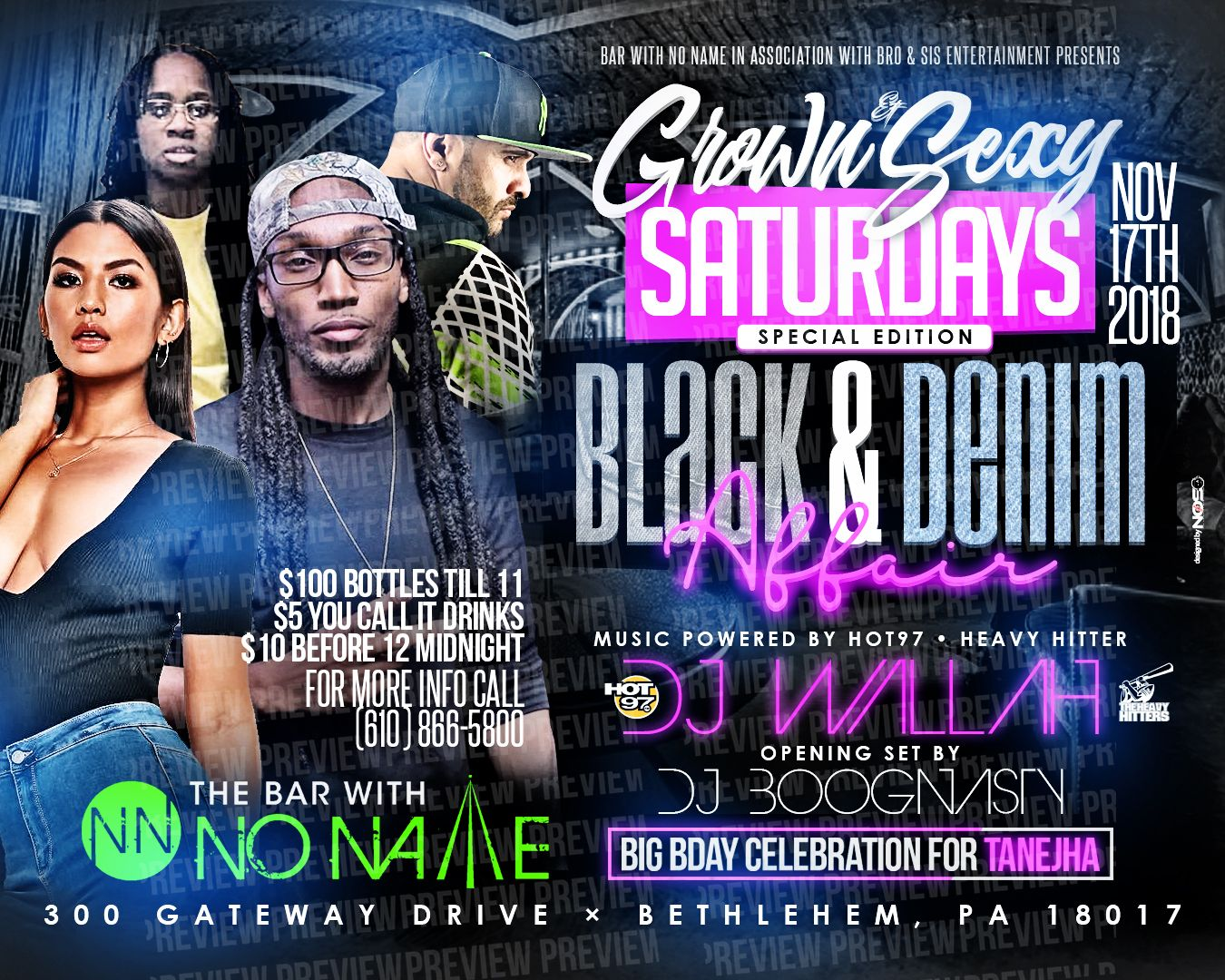 Grown and Sexy Saturdays special event on November 17th, black and denim affair