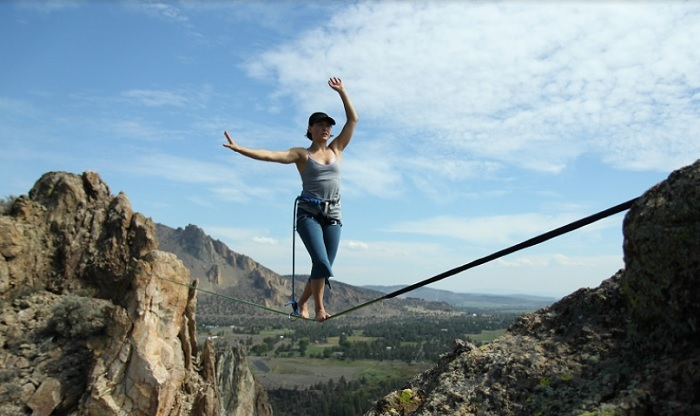 Chantel Therrien on The Gift at Smith Rock State Park.