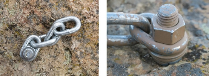 Chainlink bolts. Extra links are included on the bolt to the left to allow for   connecting a pulley system. The one on the right is painted to hide it in plain sight.   Please DO NOT continue to place these.