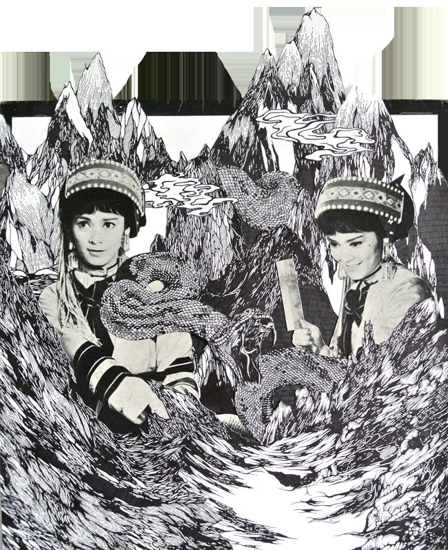 白蛇传 (  bai she zhuan)    created for the 'chinatown vinyl squad' exhibition organised by kult gallery, held at hong long zou (ann siang hill0, participants were each given a vintage vinyl cover to re-design.    exhibition opens on 29th of match 2013   ink on paper, papercutting february 2013
