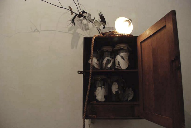 of days gone by; wanderings  installation - pencil and ink on paper, papercutting, light, found objects may 2010