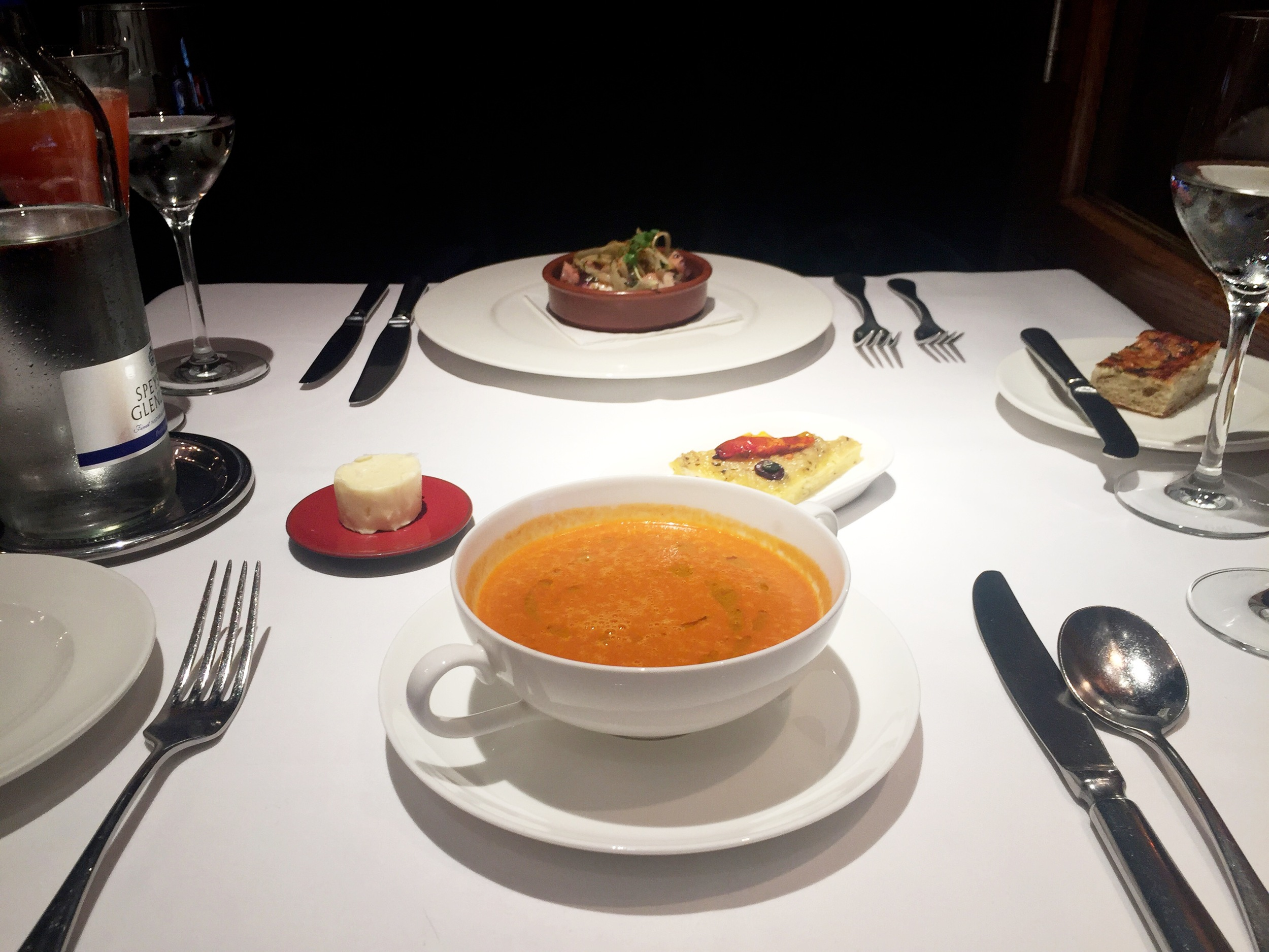 Starter: Creme of Tomato Soup and Marinate Spanish Octopus 'Provencal Style' with Fennel, New Potatoes & Piperade.