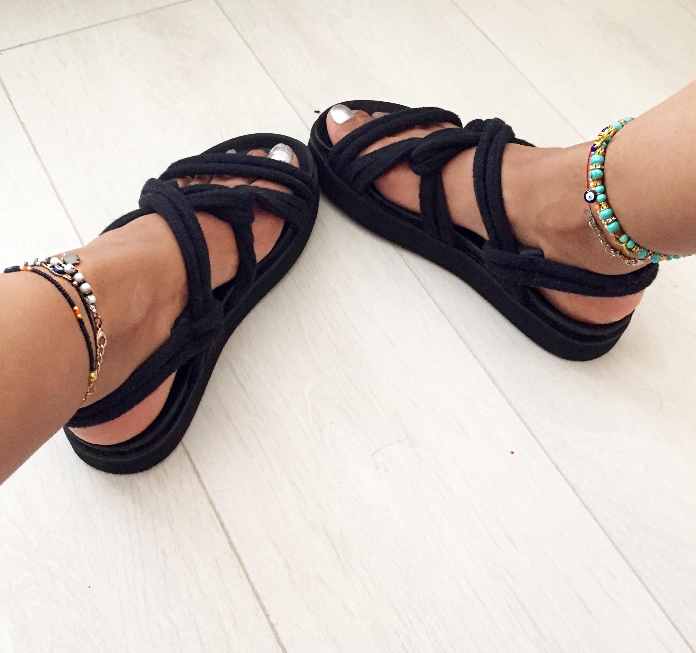 Sandals: Mango. Bracelets: Turkey