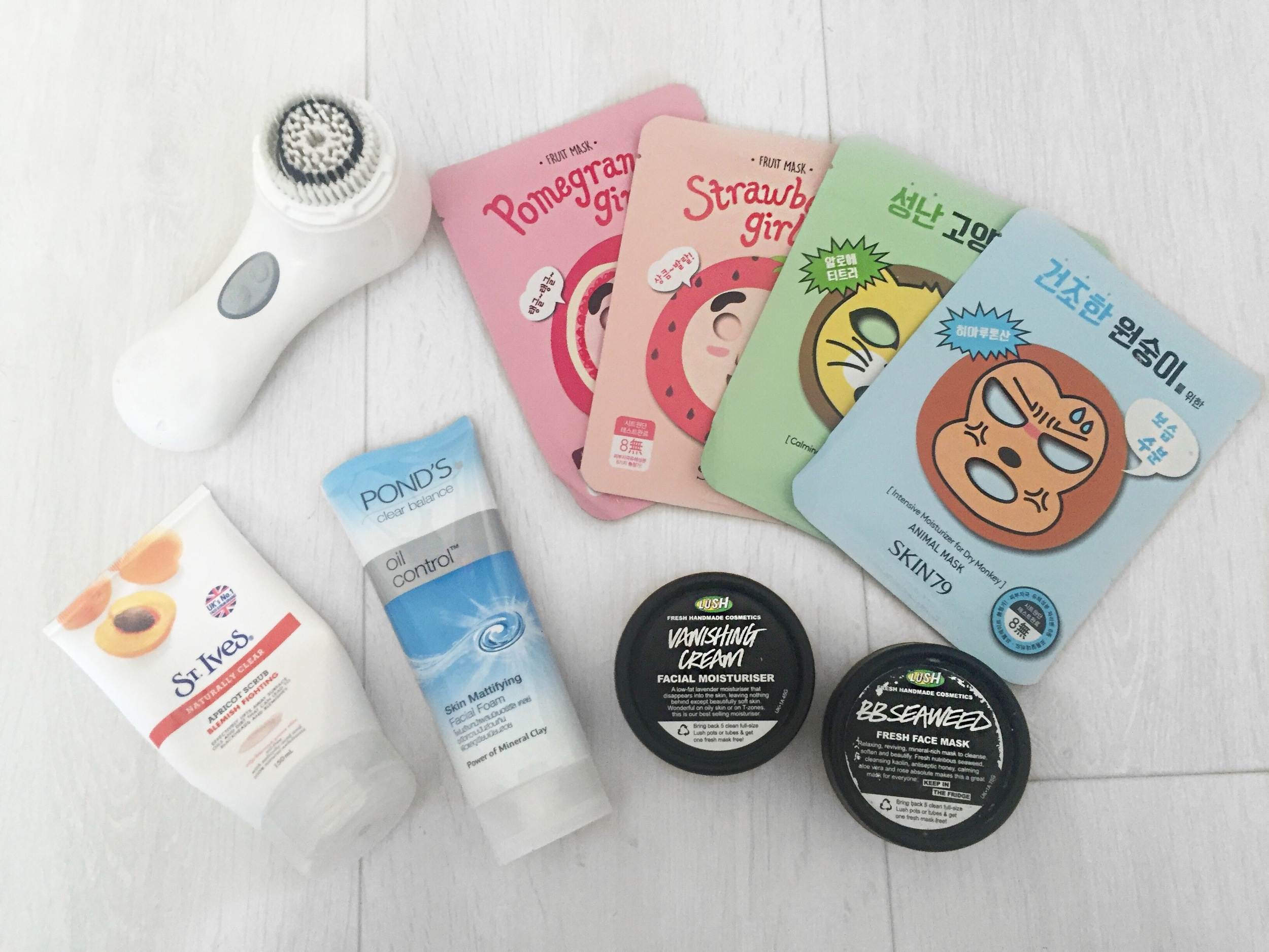 Clarisonic: Mia 2, St Ives Naturally Clear Apricot Scrub, Ponds Oil Control, Lush Vanishing Cream and Lush BB Seaweed Mask, Assortment of Facial Masks to tackle dry and irritated skin.
