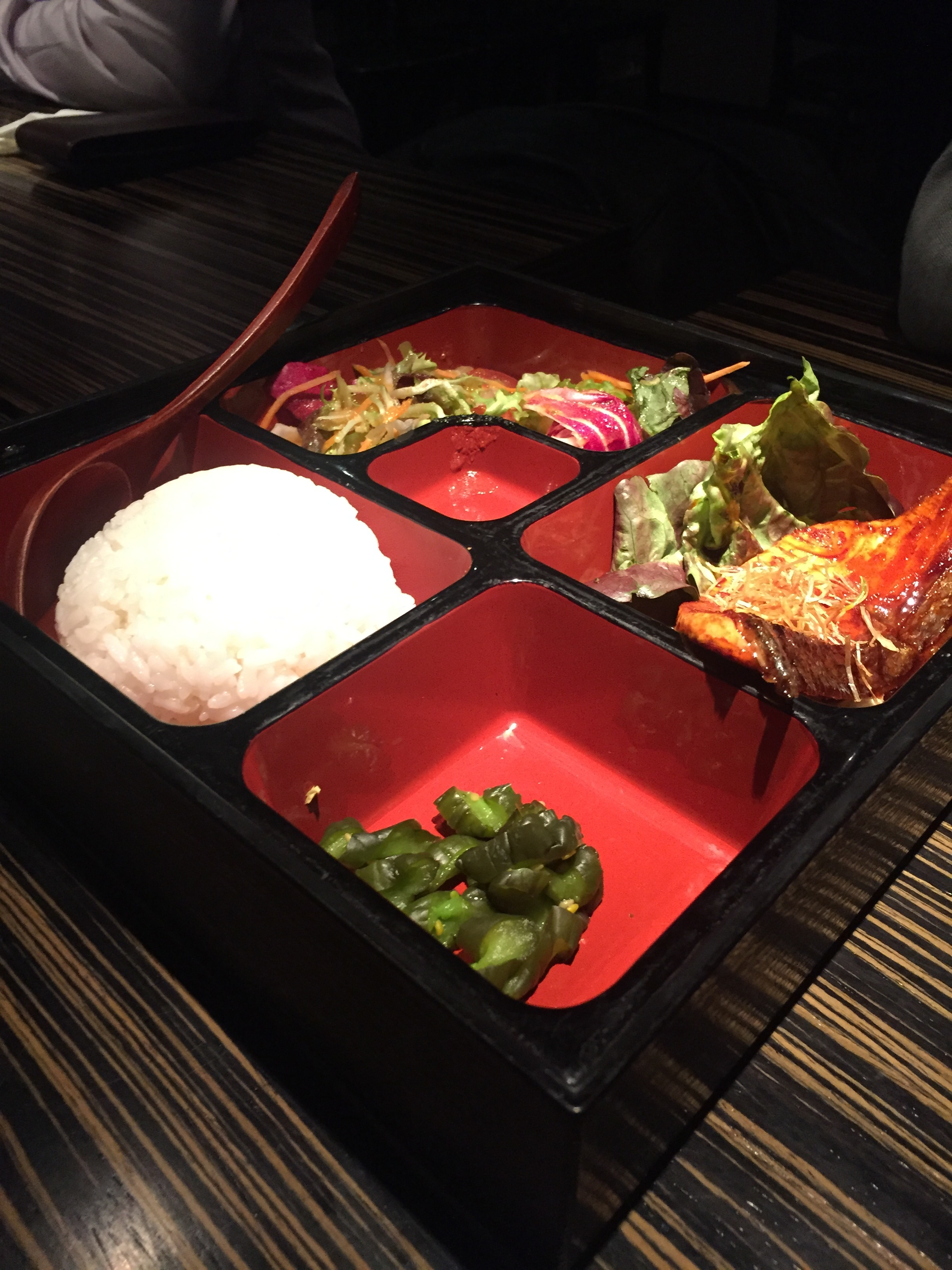 Sorry we begun nibbling away at this Salmon Bento box before I took the picture so it looks a bit sparse!