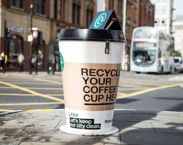 What our new coffee cup recycling bins are suggested to look like! Pretty cool!
