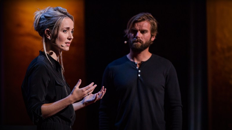 Thordis Elva and Tom Stranger during their 2016 TED on their personal experience with sexual violence