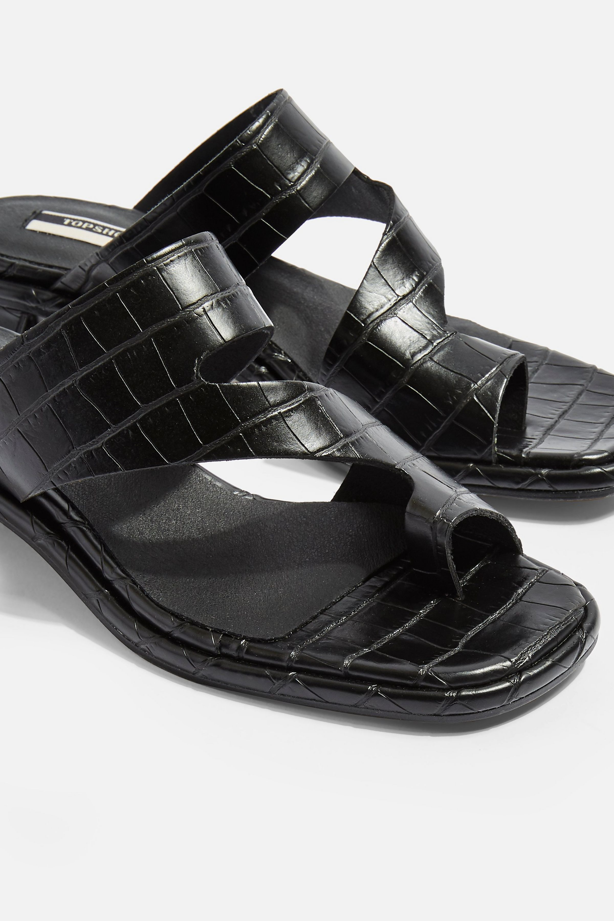 NOAH Vegan Black Crocodile Low Toe Loop Sandals £49. Source: Topshop.com