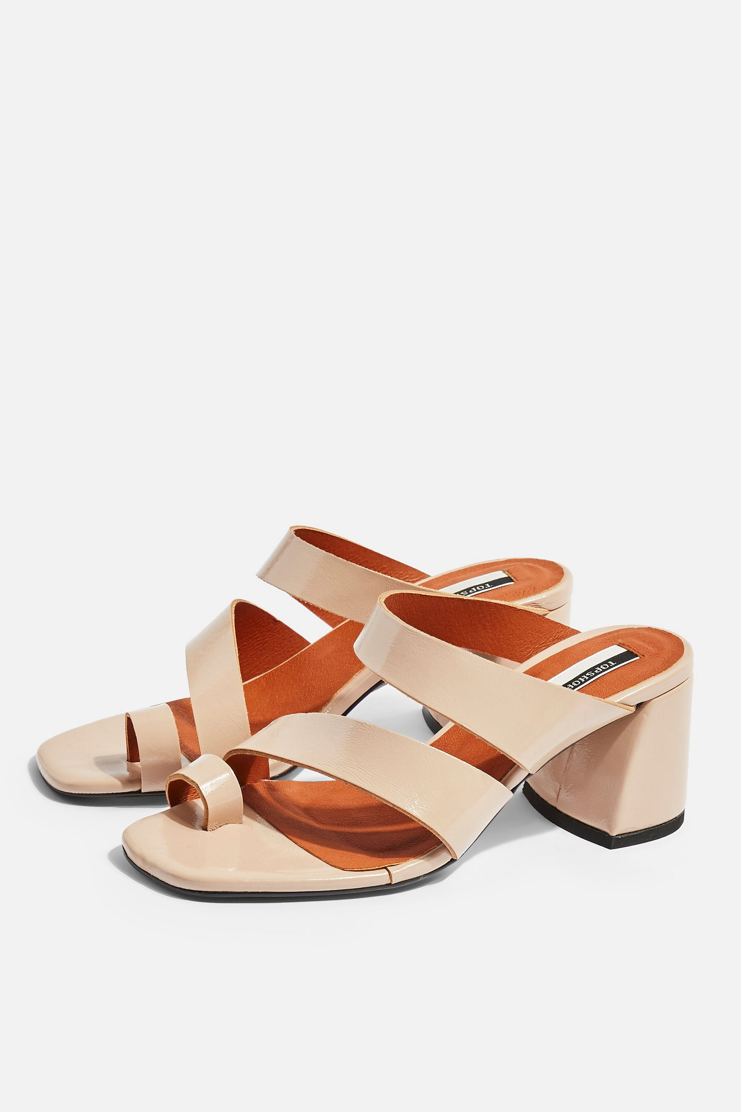 REYA Vegan Brown High Toe Loop Heels £59. Source: Topshop.com